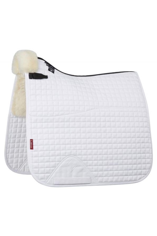 LeMieux Half Lined Cotton Dressage Square in White/Natural