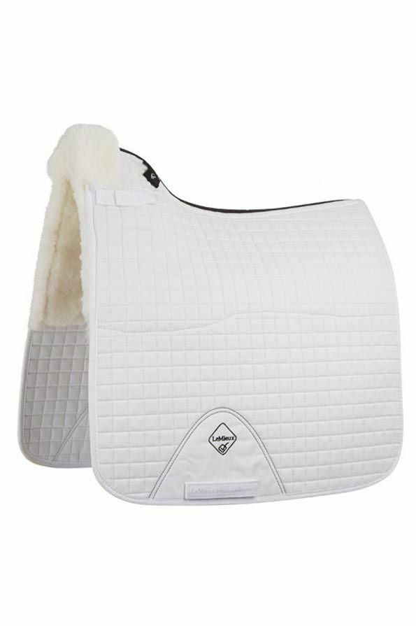 LeMieux Half Lined Cotton Dressage Square in White