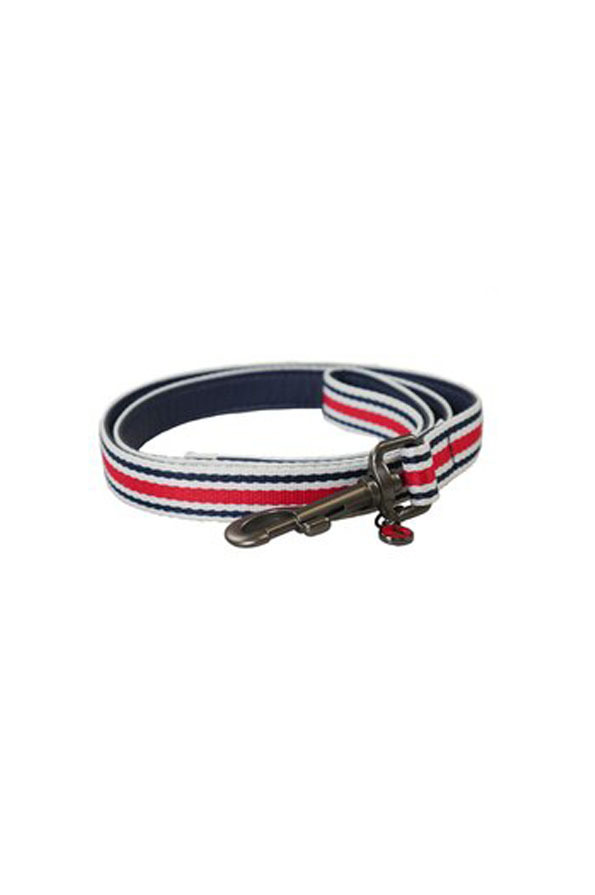 Joules Striped Dog Lead in Red