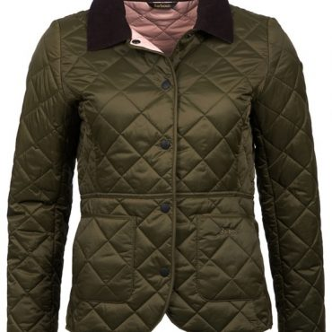 Barbour Ladies Deveron Quilted Jacket - Olive/Pale Pink