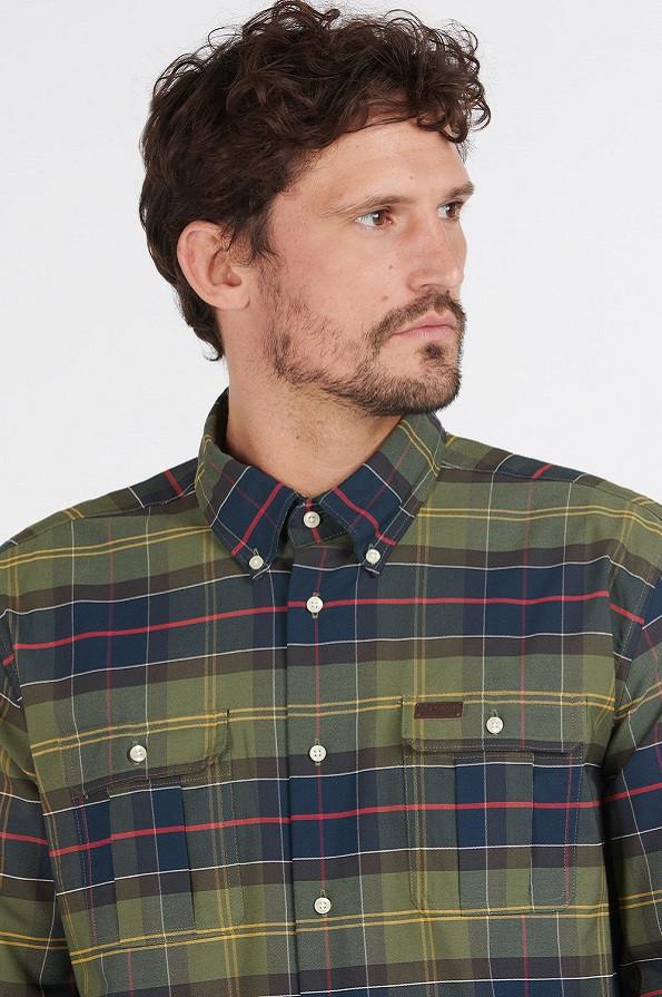 Barbour Mens Fultan Coolmax Shirt - Classic - Collar Detail