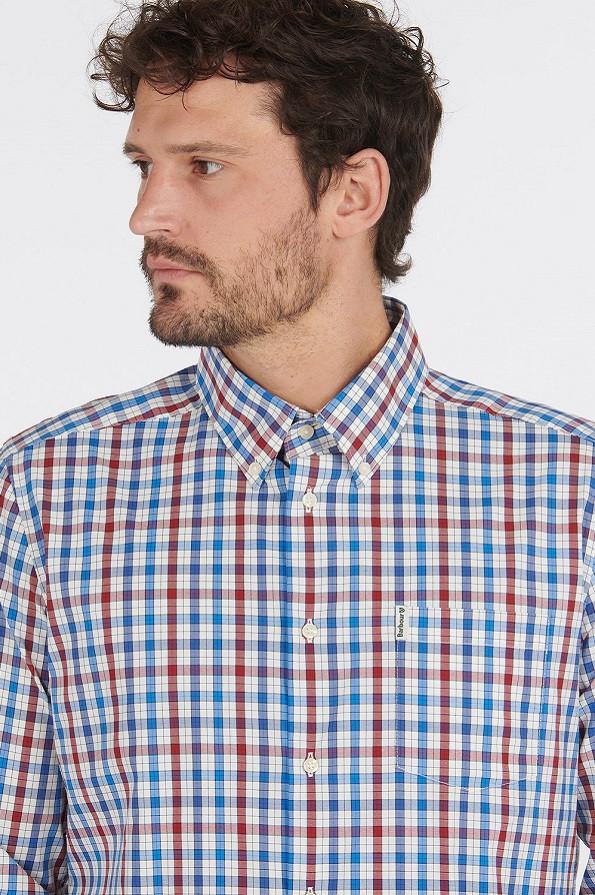 Barbour Mens Hallhill Performance Shirt - Red - Collar Detail