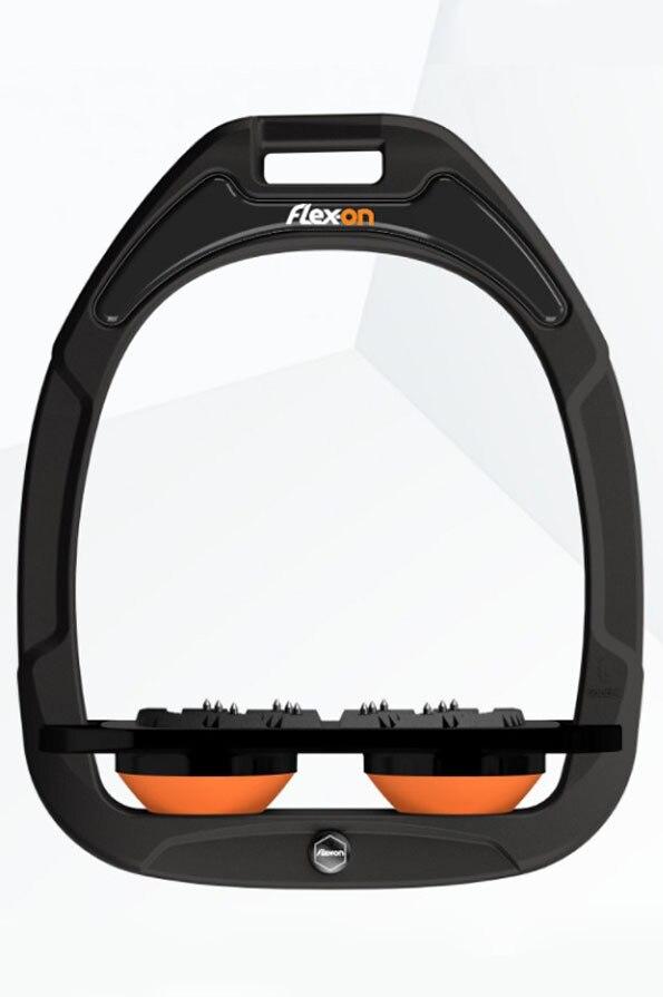 Flex-On Flat Ultra Grip Customisable Green Composite Stirrups -  Black Iron, Black Footbed, Orange Shocks