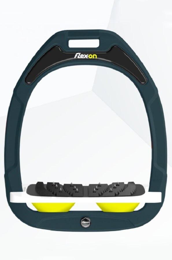 Flex-On Flat Ultra Grip Customisable Green Composite Stirrups - Dark Green Iron Black Tread Yellow Shocks