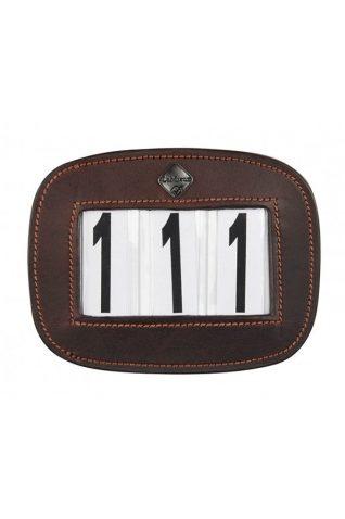 image of LeMieux Brown Leather Saddle Pad Number Holder