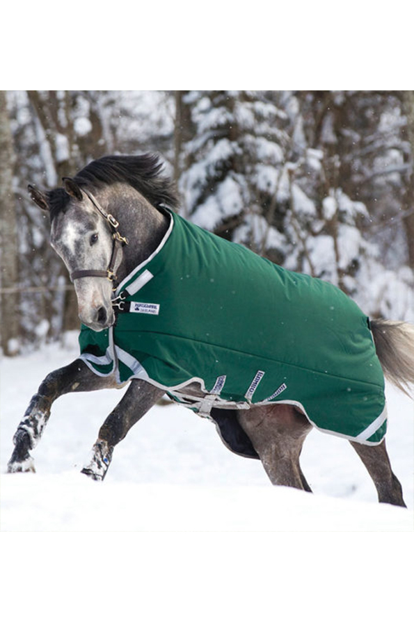 Horseware Rambo Original Turnout Rug with Leg Arches 400g - Green/Silver